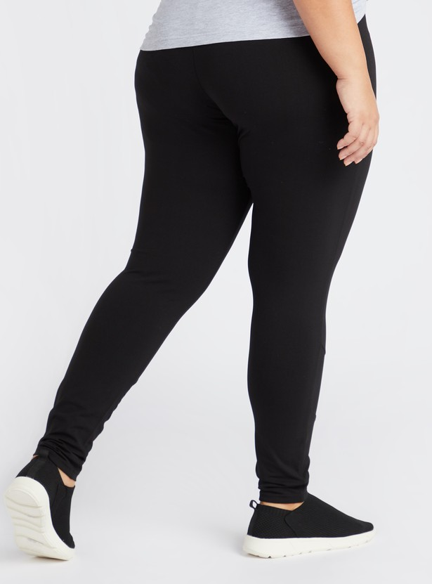 Solid Full Length Leggings with Mesh Detail and Elasticised Waistband