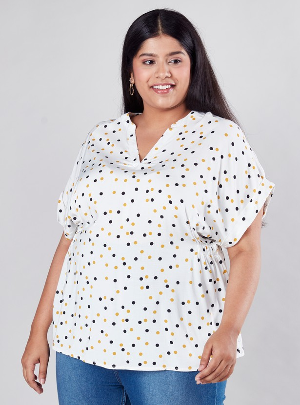 Printed Top with V-neck and Extended Sleeves
