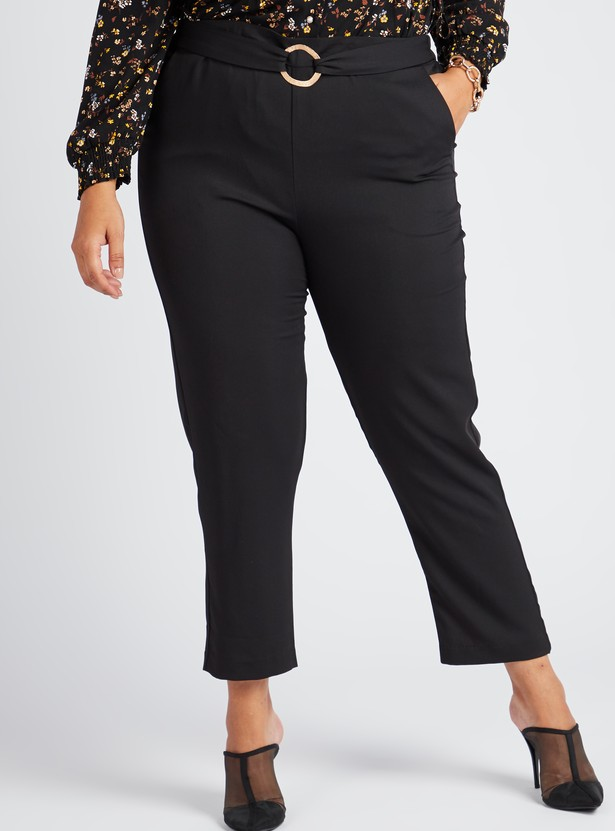 Solid Ankle Length Pants with Pockets and Buckle Detail