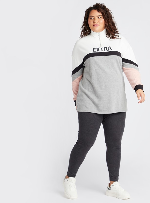 Colour Block Longline Sweat Top with High Neck and Long Sleeves