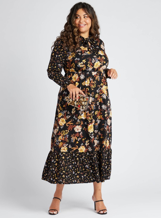 Floral Print Tiered Maxi Dress with Bow-Tie Accent