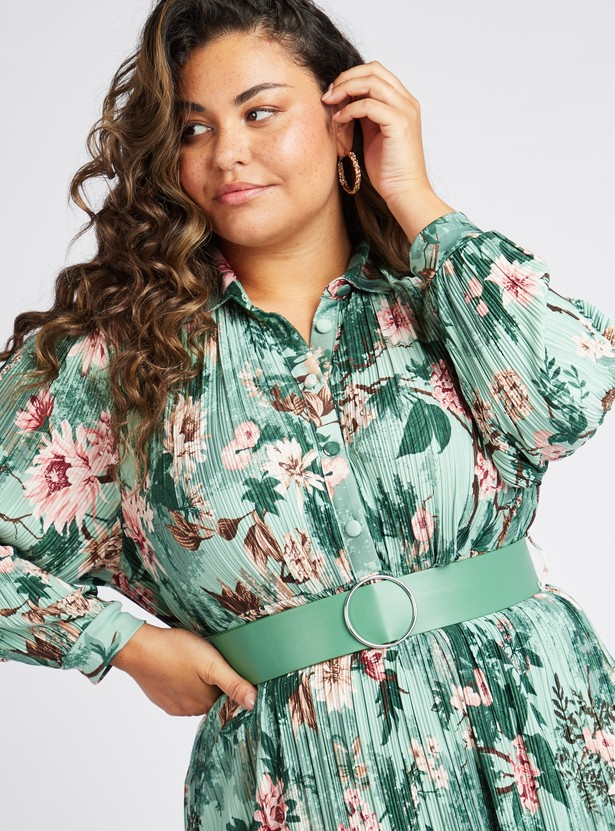 فستان قميص ميدي بأكمام طويلة وطبعات زهرية