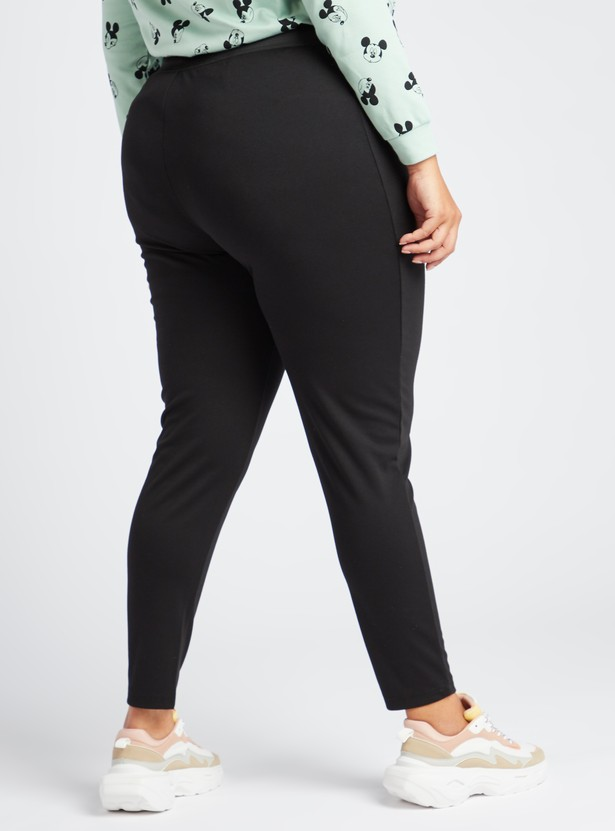 Full Length Ponte Leggings with Button Detail