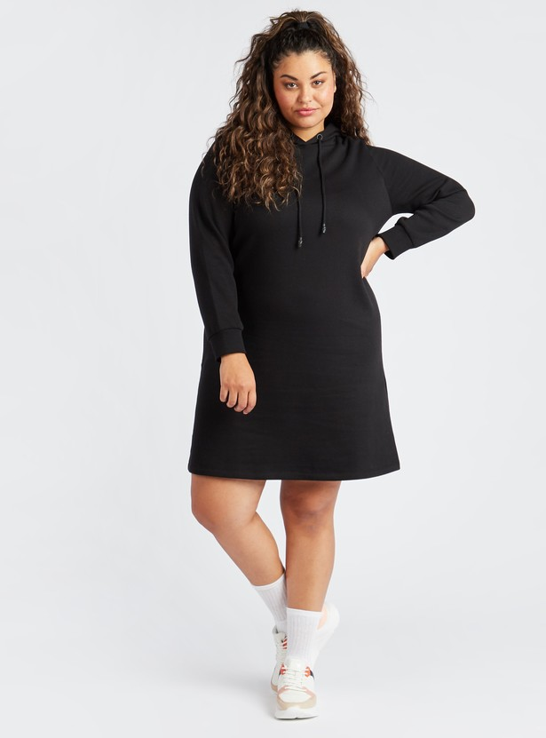 Solid Hooded Mini Shift Dress with Long Sleeves