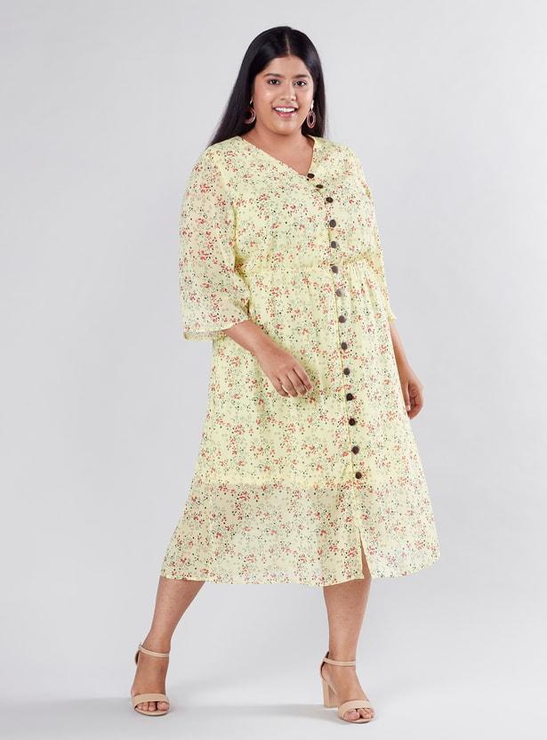 فستان إيه لاين متوسط الطول بطبعات زهرية