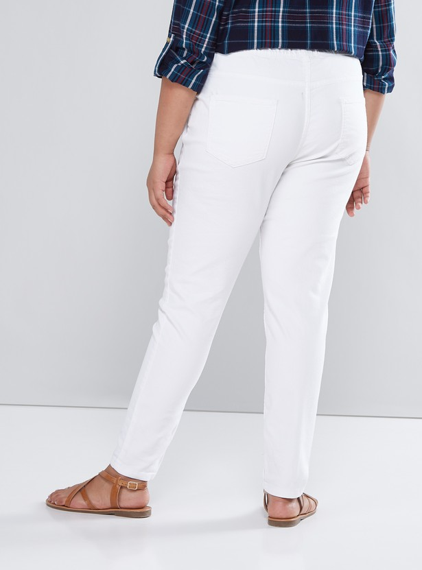 Solid Denim Jeggings with Pockets and Elasticised Waistband