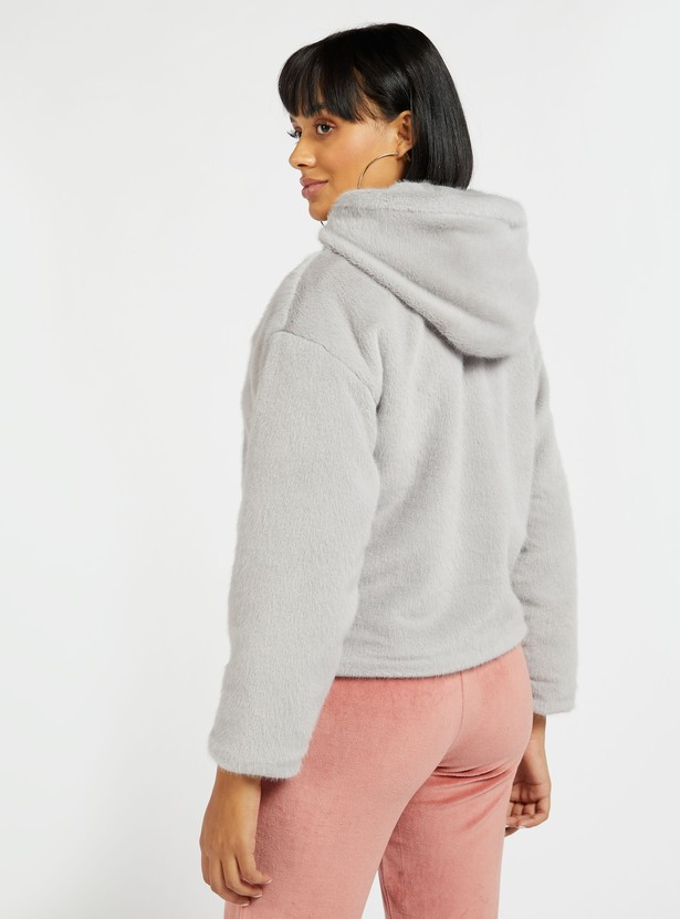 Fur Detail Jacket with Long Sleeves and Hood