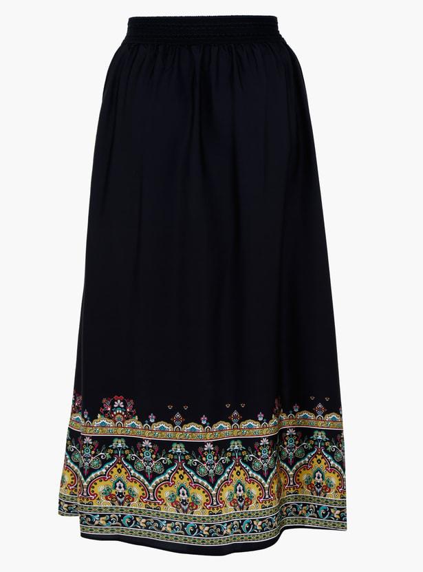 Plus Size Border Printed Maxi Skirt with Drawstring