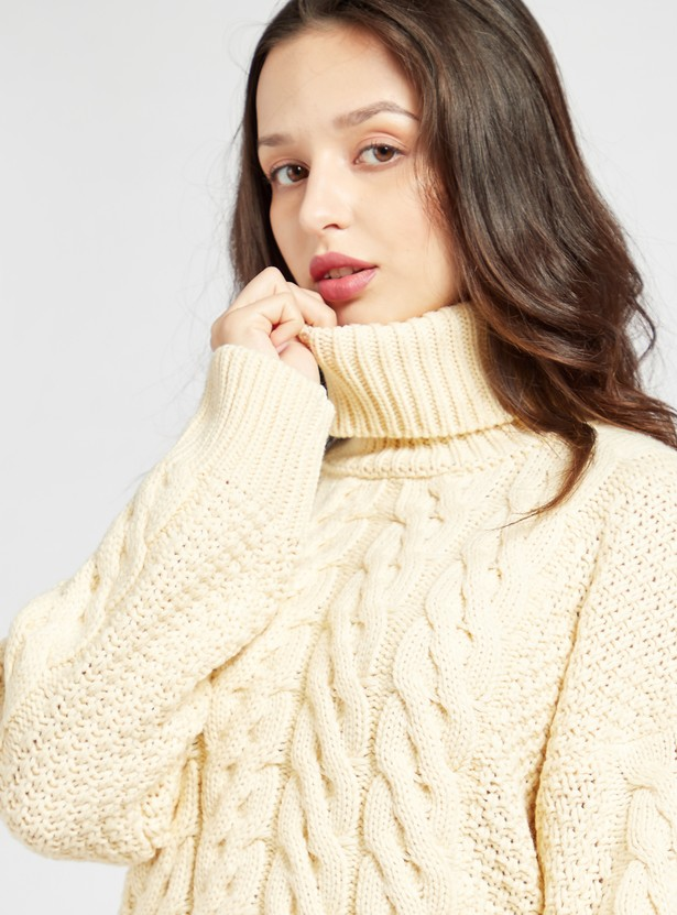 Textured Sweater with Roll-Over Neck and Long Sleeves