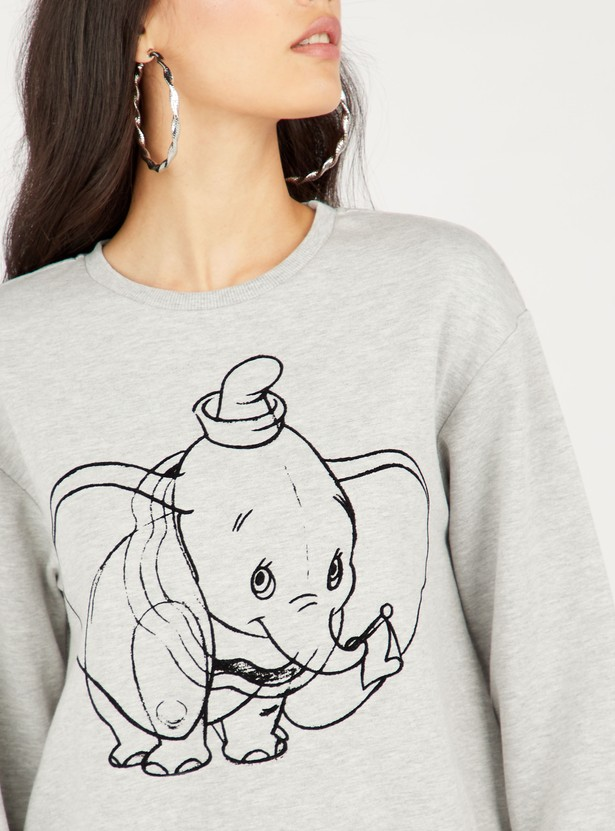 Dumbo Print Sweat Top with Round Neck and Long Sleeves