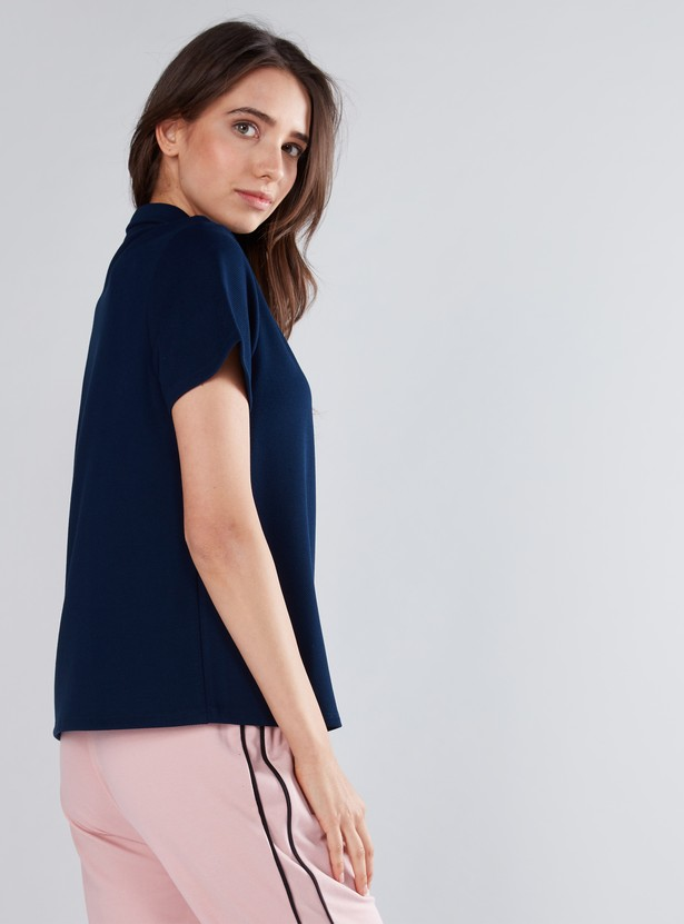 Polo Neck T-Shirt with Pearl Detail Button Closure