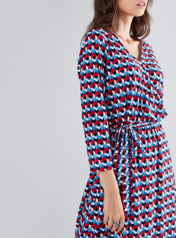 Printed Wrap Dress with V-Neck and Long Sleeves