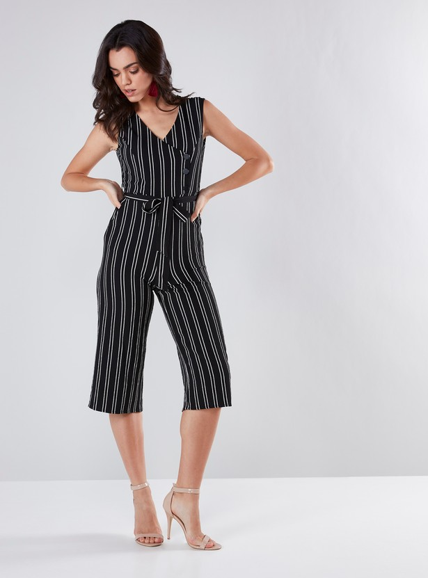 Striped V-neck Jumpsuit with Front-Knot Detail