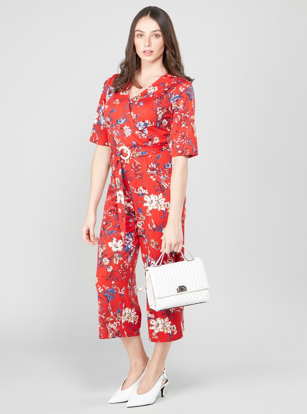 Printed Jumpsuit with Short Sleeves and Belt