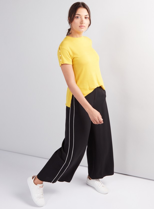 Full Length Palazzo Pants with Elasticised Waistband and Pocket Detail