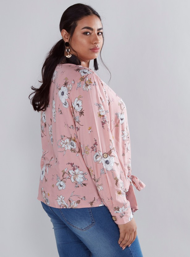 Floral Print V-neck Top with Long Sleeves and Front Knot Styling
