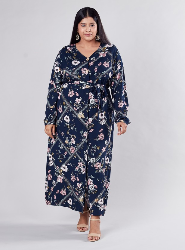 Floral Printed Maxi A-line Dress with Long Sleeves and Tie Ups