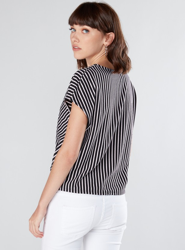 Striped Top with V-Neck and Tie Ups