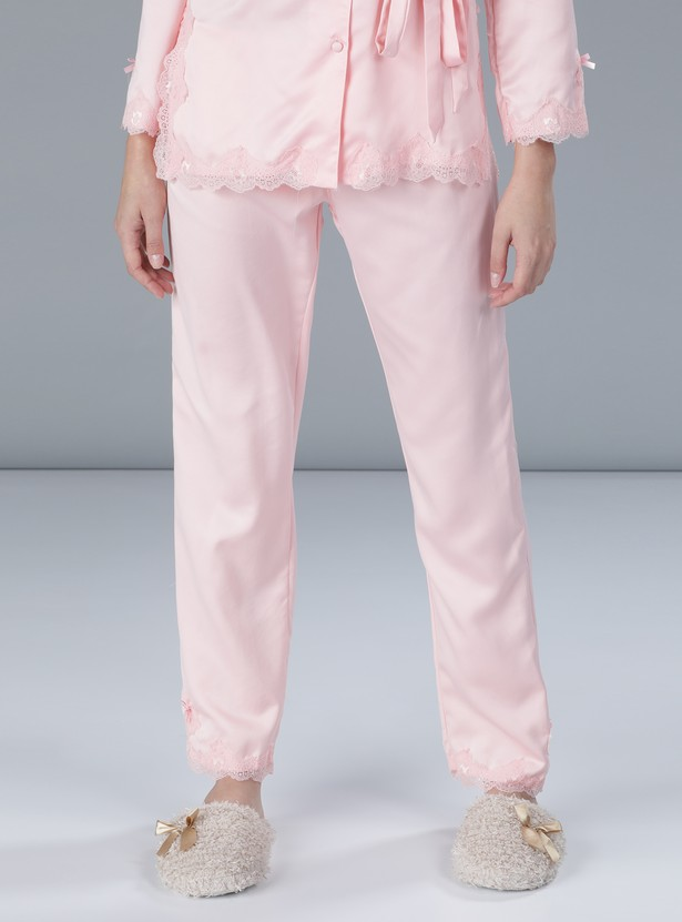 Lace Detail Shirt and Pyjama Set