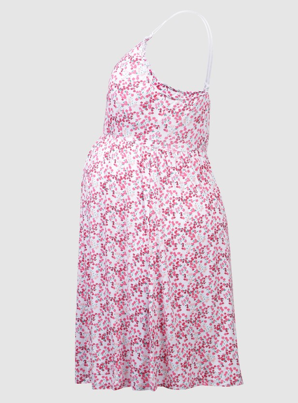 Printed Maternity Dress with Spaghetti Straps