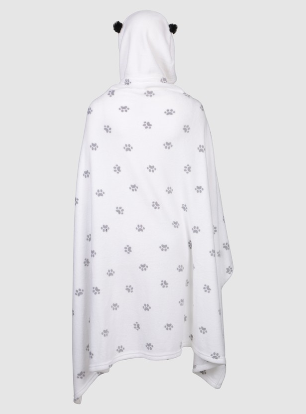 Printed Robe with Long Sleeves and Hood