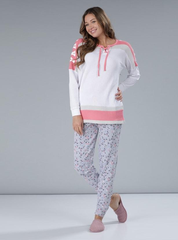 Printed Full Length Pyjamas with Elasticised Waistband and Drawstring