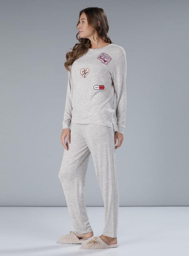 Embroidered T-Shirt and Pyjama Set