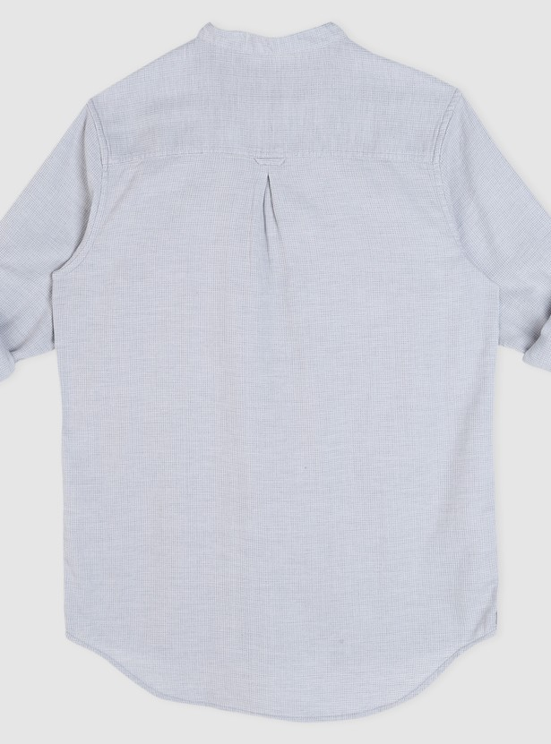 Mandarin Neck Long Sleeves Shirt with Tabs