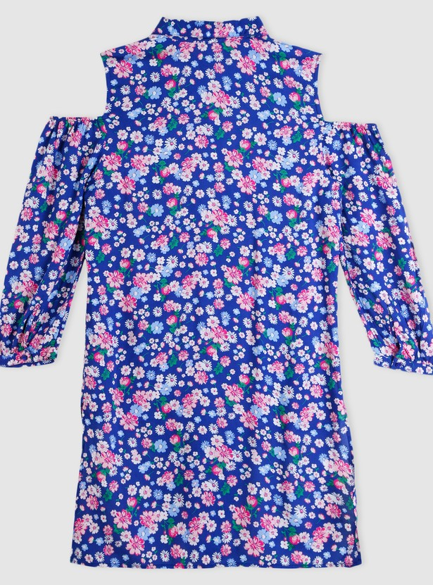 Floral Print Top with Cold Shoulders
