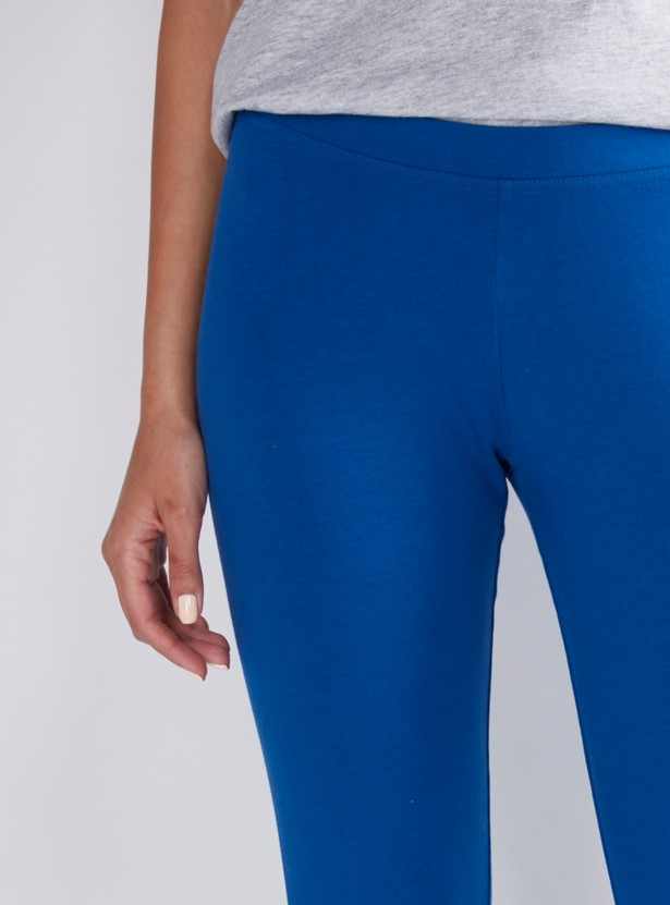 Cropped Mid Waist Leggings with Elasticised Waistband