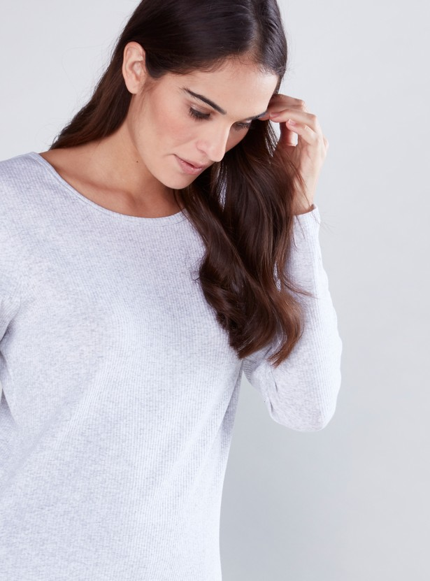 Round Neck Ribbed T-Shirt with Long Sleeves