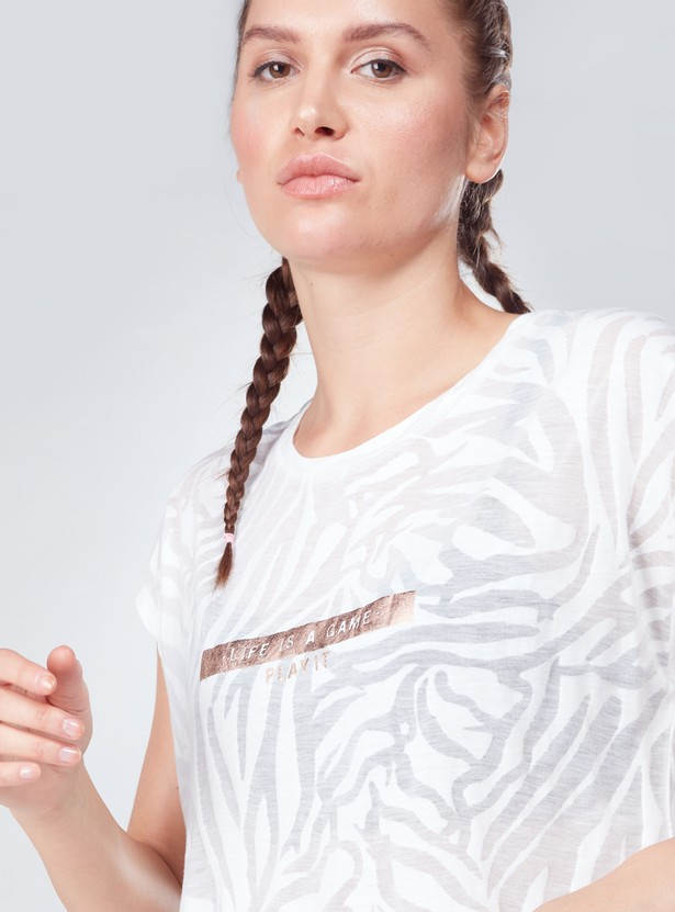 Textured Oversized T-Shirt with Extended Sleeves and Text Prints