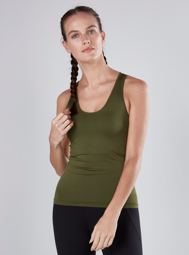 Solid Seamless Vest with Scoop Neck and Criss-Cross Back Detail