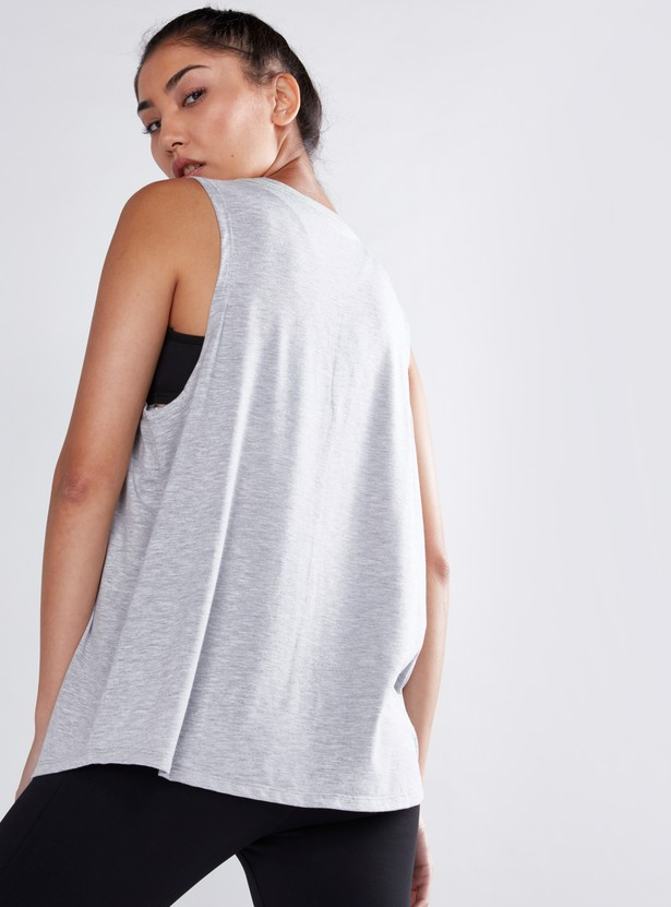Printed Vest with Dropped Armholes