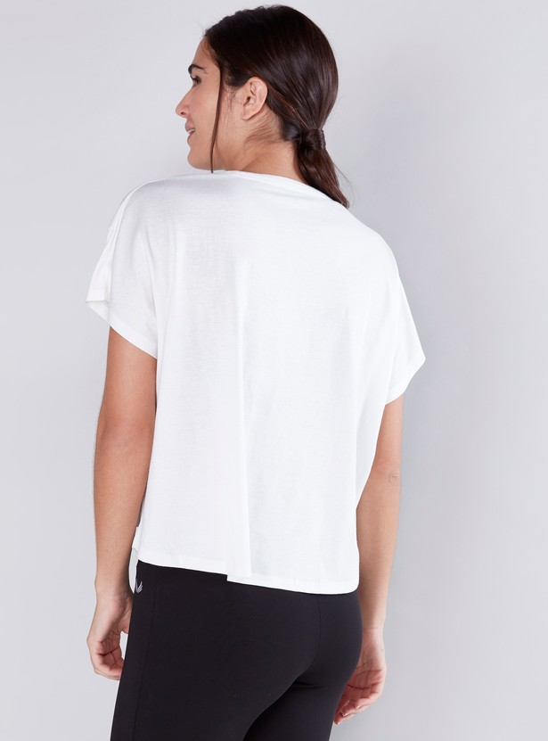 Oversized Textured T-Shirt with Round Neck and Short Sleeves