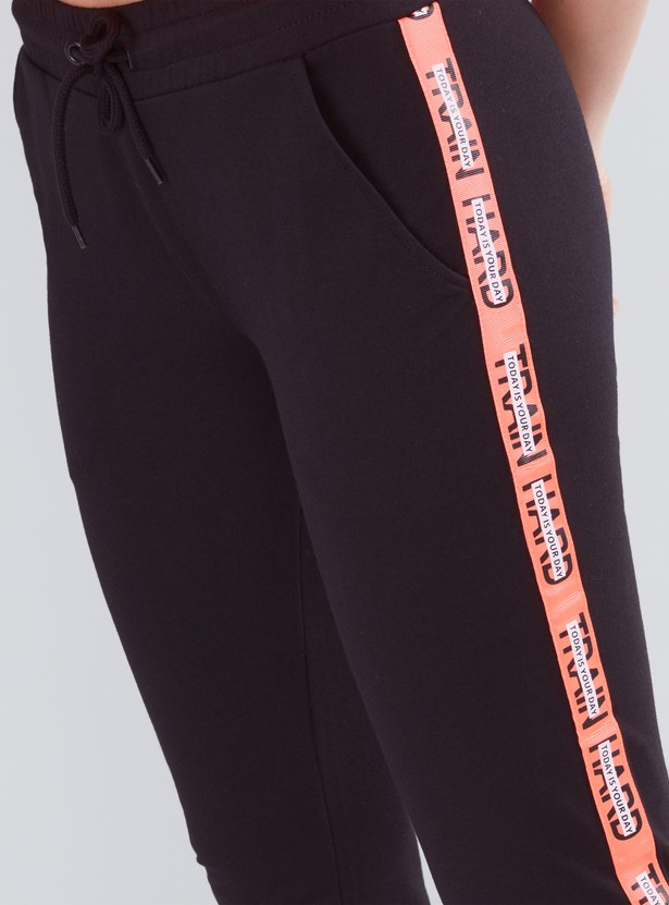Printed Tape Detail Joggers with Drawstring Closure