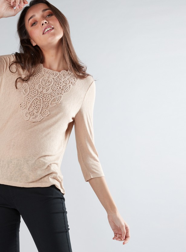 Lace Detail Top with Round Neck and 3/4 Sleeves