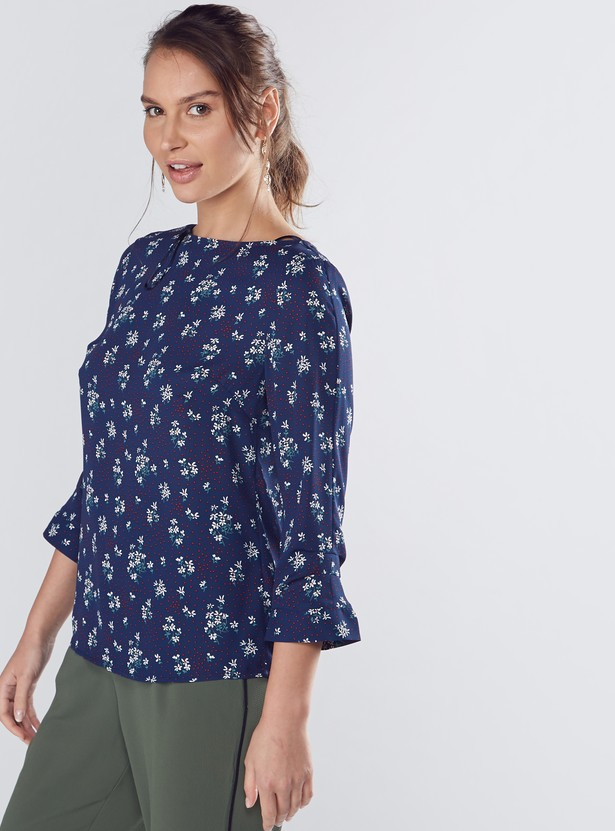 Printed Top with Round Neck