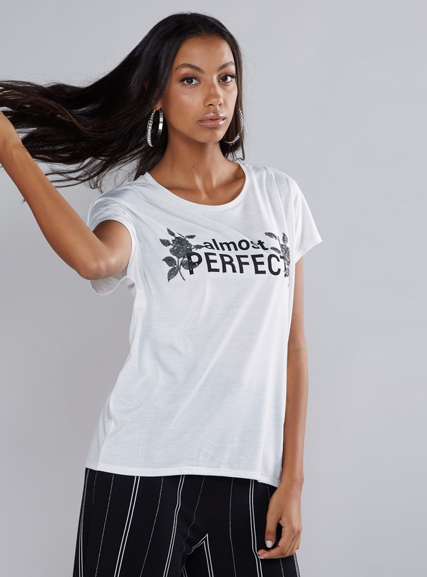 Printed T-Shirt with Extended Sleeves and Sequin Detail
