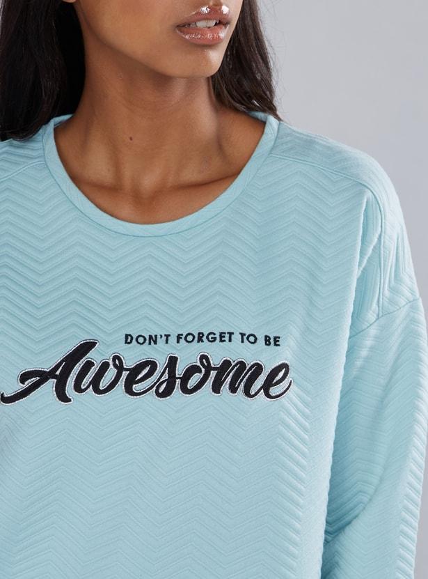 Textured Sweatshirt with Round Neck and Drop Shoulder Sleeves