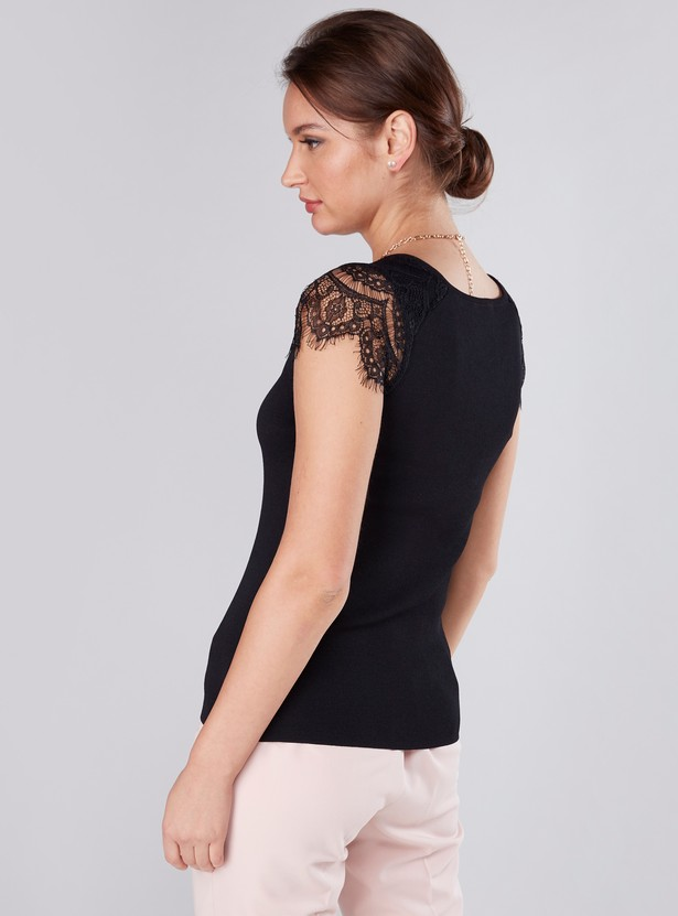 Textured Top with Lace Detail and V-Neck
