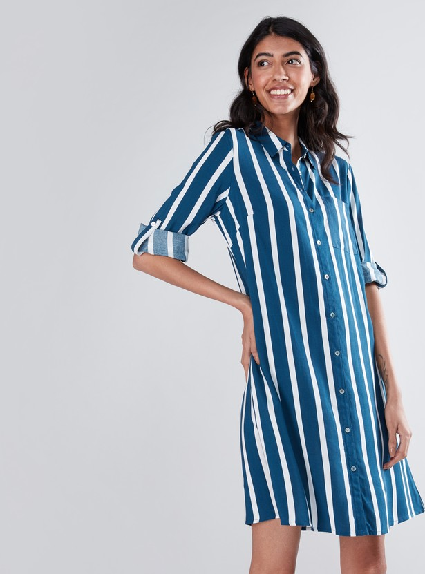 Striped Shirt Dress with 3/4 Sleeves and Complete Placket