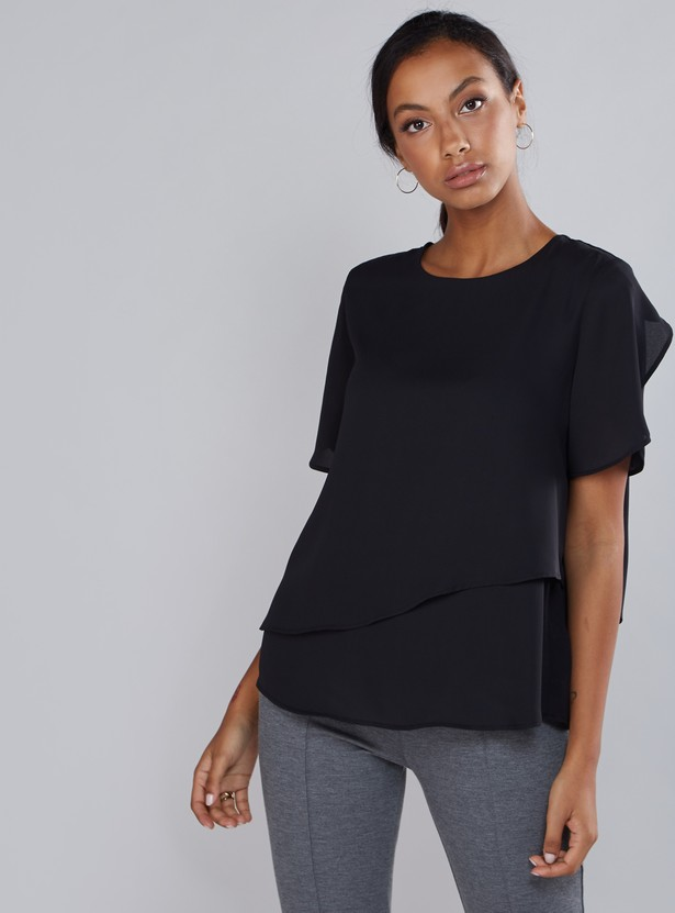 Layered Top with Round Neck and Short Sleeves