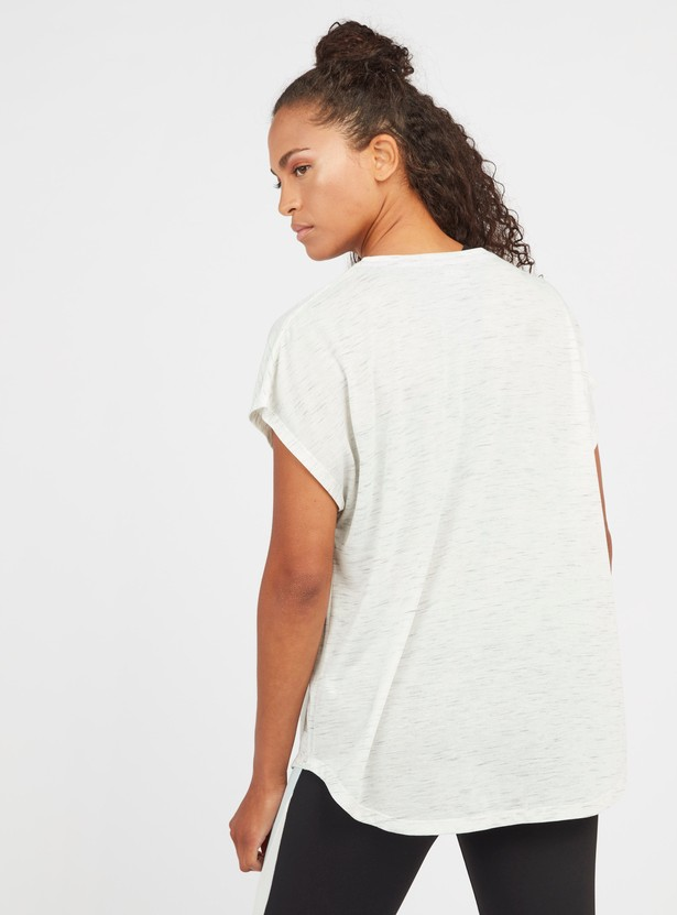 Slogan Print T-shirt with Round Neck and Extended Sleeves