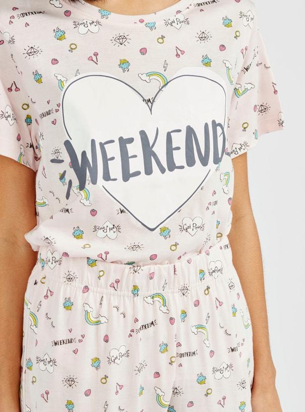 All Over Print Round Neck T-shirt and Full Length Pyjama Set