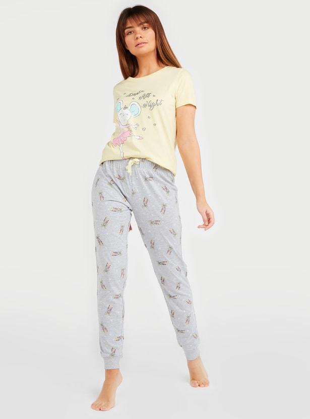 Dance Print Short Sleeves T-shirt and Pyjama Set