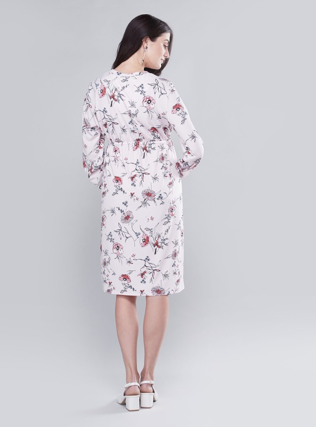 Maternity Floral Printed Midi A-line Dress with Long Sleeves and Tie-Ups
