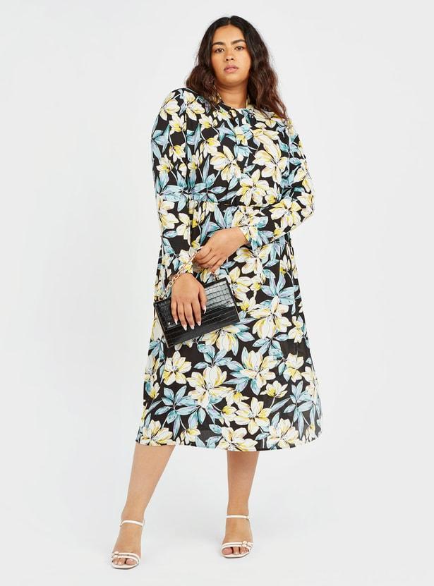 فستان ميدي بأكمام طويلة ورباط  مع طبعات أزهار بالكامل