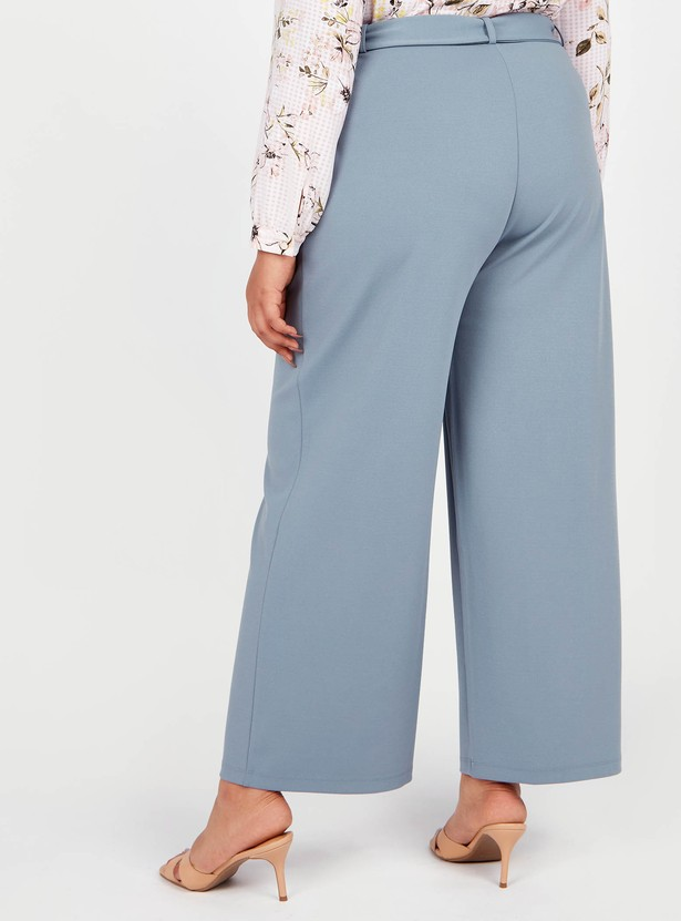 Textured Palazzo Pants with Belt