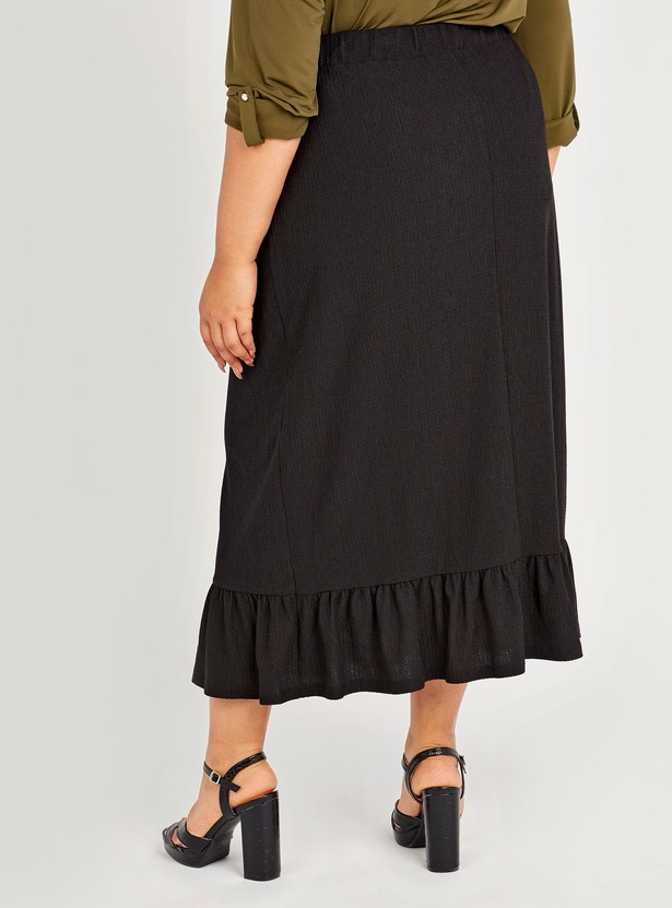Textured Midi Skirt with Button Detail and Elasticised Waistband